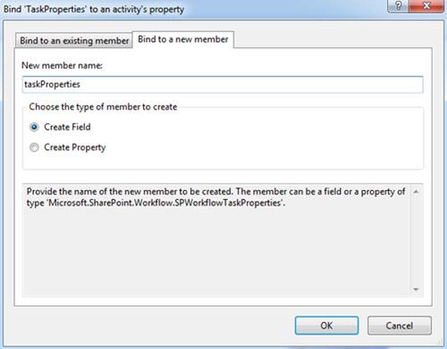 Del mismo modo, para la propiedad TaskProperties de la actividad createTask1 crearemos una nueva variable (Create Field) que llamaremos taskProperties. De este modo, desde código podremos utilizar un evento de la actividad createTask1, para crear una tarea a nuestro antojo, como veremos más adelante