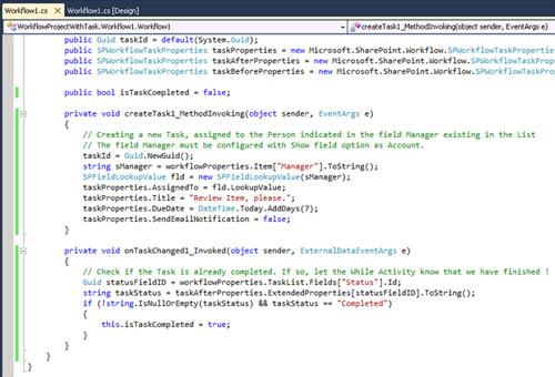 De vuelta a la vista de código, escribiremos el código deseado para los dos eventos.