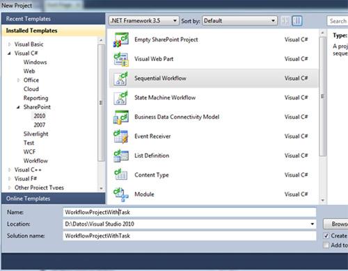 Abriremos Visual Studio 2010 y crearemos un proyecto de tipo Sequential Workflow para SharePoint 2010
