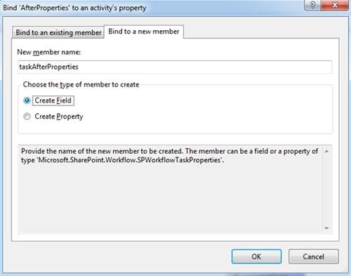 Seguidamente, para la propiedad AfterProperties de la actividad onTaskChanged1 crearemos una nueva variable (Create Field) que llamaremos taskAfterProperties