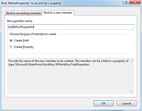 Del mismo modo, para la propiedad BeforeProperties de la actividad onTaskChanged1 crearemos una nueva variable (Create Field) que llamaremos taskBeforeProperties