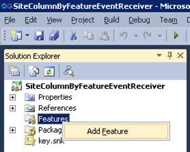 Añadiremos una nueva Característica (Feature) al Proyecto de Visual Studio.