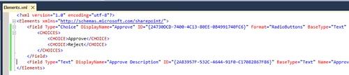 Incluiremos la descripción XML de dos Columnas de Sitio (Site Columns) en el fichero elements.xml