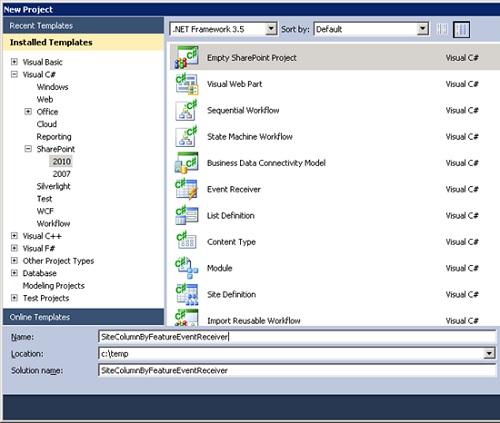 Abriremos Visual Studio 2010 y crearemos un proyecto de tipo Empty SharePoint Project para SharePoint 2010.