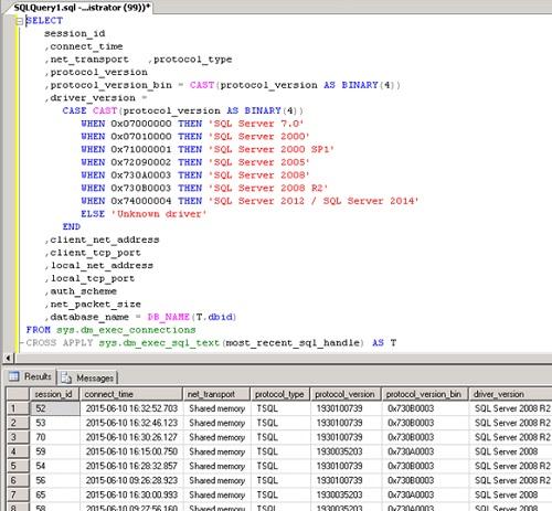 Consultar el campo protocol_version de la DMV sys.dm_exec_connections para conocer la versión Cliente de SQL (o la versión del SQL Native Client) utilizada por un proceso para conectarse a SQL Server