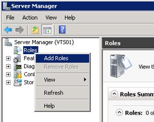Abrimos la herramienta Server Manager, y seleccionamos la opción Add Roles del menú contextual de Roles