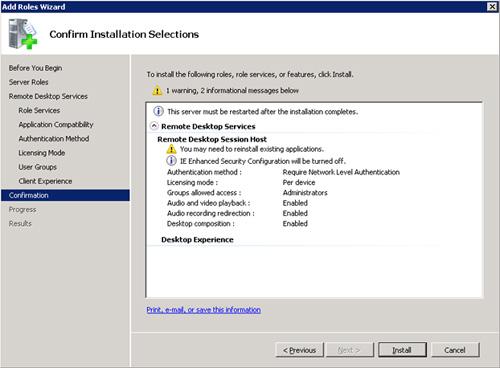 En la pantalla Confirmation, revisar que todo está OK, y click Install