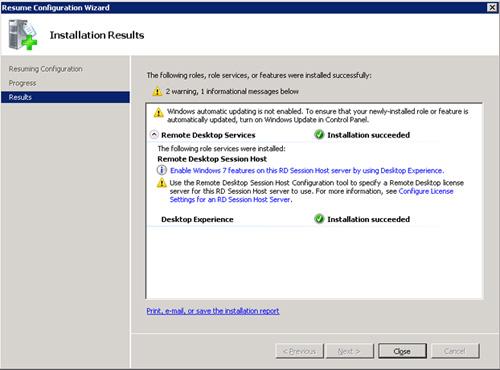 Tras el reinicio del servidor, al volver a conectarnos a la máquina, se mostrará la pantalla Installation Results. Revisamos la información que nos muestra, y click Close