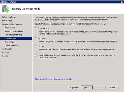 En la pantalla Specify Licensing Mode, deberemos indicar el modo de licenciamiento que deseemos. En nuestro caso de ejemplo, seleccionaremos la opción Per Device