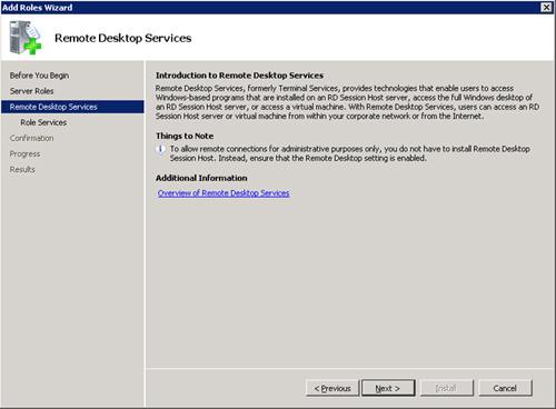 En la pantalla Remote Desktop Services, click Next para continuar