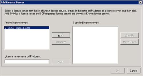 En el diálogo Add License Server, seleccionamos el servidor de licencias deseado