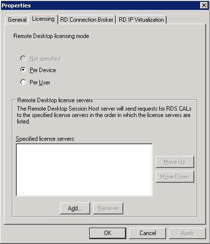 En el diálogo Properties, en la pestaña Licensing, click en el botón Add para añadir un servidor de licencias