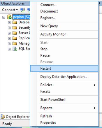Una vez que hemos habilitado el almacenamiento FILESTREAM en SQL Server, deberemos reiniciar nuestra Instancia de SQL Server.