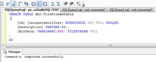 Realizado todo esto, ya estamos preparados para empezar a usar el almacenamiento FILESTREAM en nuestra base de datos, para lo cual, tan sólo deberemos utilizar el tipo de dato VARBINARY(MAX) con la opción FILESTREAM
