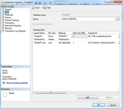 Del mismo modo, al mostrar la página Files de las Propiedades de la Base de Datos en el SQL Server Management Studio, podremos ver algo similar a