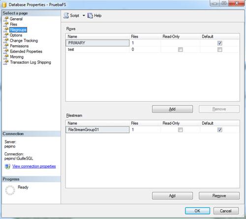 Ahora, al mostrar la página FileGroups de las Propiedades de la Base de Datos en el SQL Server Management Studio, podremos ver algo como lo siguiente: