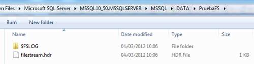 Ahora que ya hemos configurado nuestra Base de Datos para poder utilizar almacenamiento FILESTREAM, podremos observar que se ha creado la correspondiente carpeta en el Sistema de Ficheros, para el almacenamiento y gestión de los datos FILESTREAM.