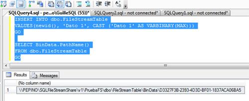 Una vez hemos creado nuestra tabla, podemos empezar a utilizarla de inmediato. A continuación se muestra un par de ejemplos de Transact-SQL, para insertar y consultar nuestra tabla y datos FILESTREAM