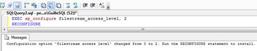 El segundo paso a realizar es habilitar el almacenamiento FILESTREAM a nivel de SQL Server, para lo cual, ejecutaremos el procedimiento sp_configure (por ejemplo, desde una ventana de consulta en SQL Server Management Studio)
