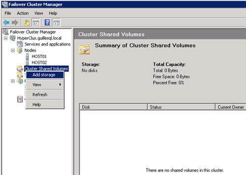 Una vez habilitado CSV, ahora queda configurar como CSV el disco que deseamos utilizar   para almacenar Máquinas Virtuales en el Cluster (es decir, añadir un disco CSV)