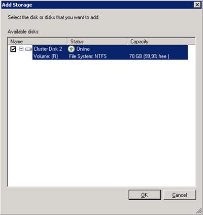 En la pantalla Add Storage, seleccionaremos el disco que deseamos configurar como   CSV