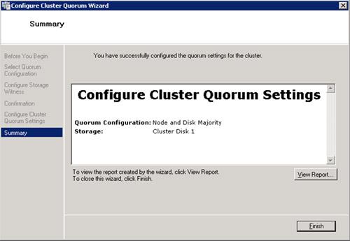 Realizado esto, habrá quedado finalizada la configuración del Quorum