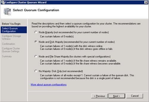 En la pantalla Select Quorum Configuration, seleccionaremos la opción Node and Disk   Majority, ya que deseamos utilizar un Disco de Quorum