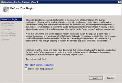En la pantalla de bienvenida del asistente de configuración del Quorum, click   Next para continuar