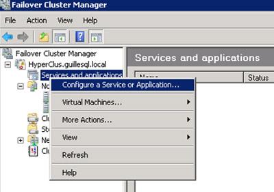 Deberemos configurar la Máquina Virtual en modo Alta Disponibilidad, desde la opción Configure a Service or Application