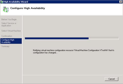 En la pantalla Configure High Availability, esperamos mientras avanza la barra de progreso