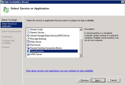 En la pantalla Select Service or Application, seleccionaremos la opción Virtual Machine