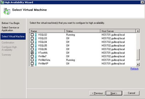 En la pantalla Select Virtual Machine, seleccionaremos la Máquina Virtual que acabamos de crear