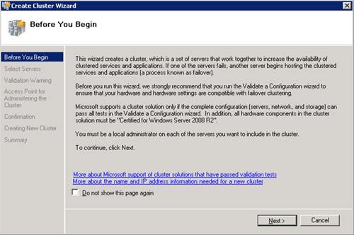 En la pantalla de bienvenida del asistente para la creación de un nuevo Cluster, click Next para continuar