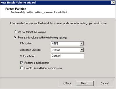 Formatearemos el nuevo volumen en NTFS
