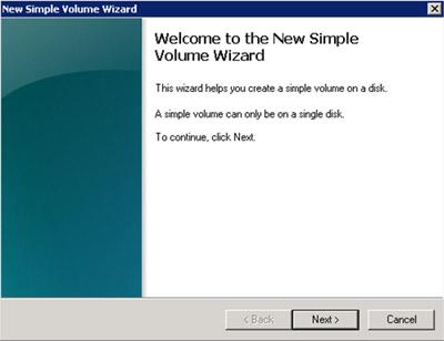En la pantalla del bienvenida del asistente para crear un nuevo volumen,   click Next para continuar