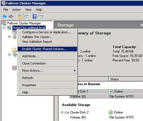 Para habilitar Cluster Shared Volumes (CSV), deberemos utilizar la opción Enable Cluster Shared   Volumes en la herramienta administrativa Failover Cluster Manager