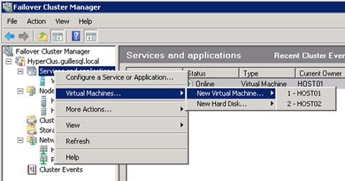 Desde la herramienta administrativa Failover Cluster Manager, es posible crear una nueva Máquina Virtual directamente con HA, o bien crear Discos Virtuales.