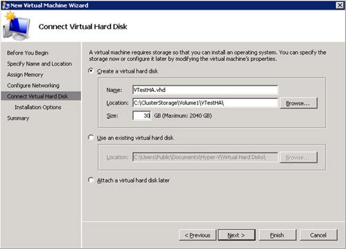 En la pantalla Connect Virtual Hard Disk, especificaremos que deseamos crear un nuevo Disco Virtual VHD