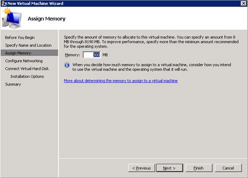 En la pantalla Assign Memory, especificaremos la memoria deseada para la nueva Máquina Virtual