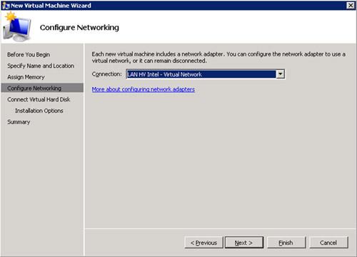 En la pantalla Configure Networking, especificaremos la Red Virtual a la que deseamos conectar la nueva Máquina Virtual