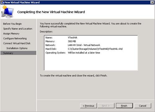 En la pantalla Completing the New Virtual Machine Wizard, revisamos la información resumida, y click Finish