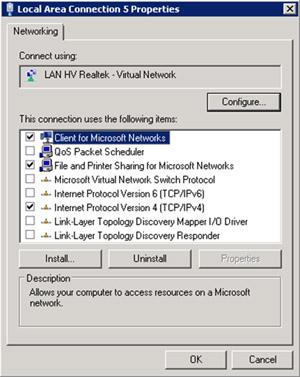 Propiedades de la Virtual NIC correspondiente a la Realtek Gigabit PCI