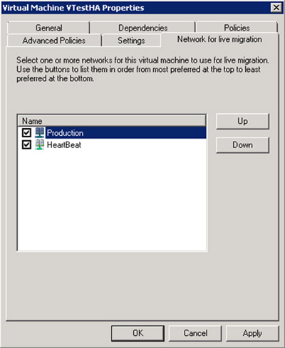 Este es el aspecto de la pestaña Network for live migration, de las propiedades del Recurso de la nueva Máquina Virtual.