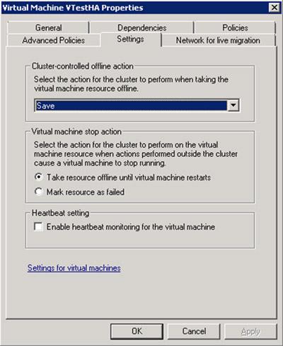 Este es el aspecto de la pestaña Settings, de las propiedades del Recurso de la nueva Máquina Virtual