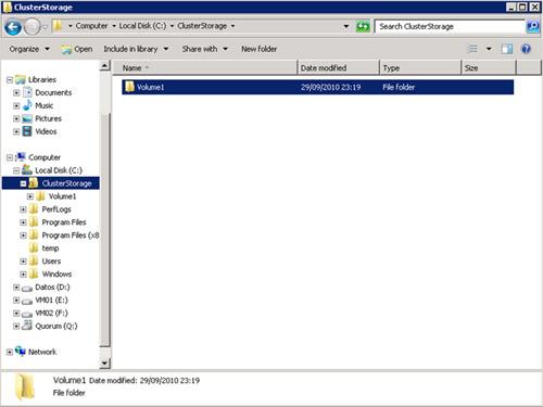 Los Discos CSV suelen aparecer como carpetas, por debajo de C:\ClusterStorage
