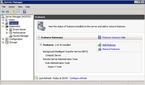 Seleccionamos la opción Add Features, desde el Server Manager