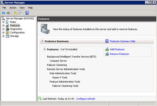 Comprobar la instalación de Failover Cluster desde Server Manager