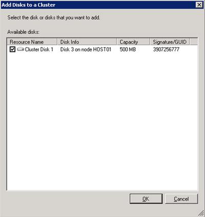 En el diálogo Add Disks to a Cluster, seleccionaremos el disco que deseamos añadir   al Cluster