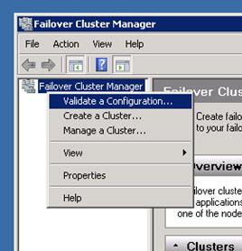 Abriremos la herramienta administrativa Failover Cluster Manager, y ejecutaremos la   opción Validate a Configuration