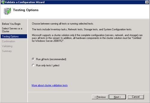 En la pantalla Testing Options, seleccionaremos la opción Run all tests (recommended)